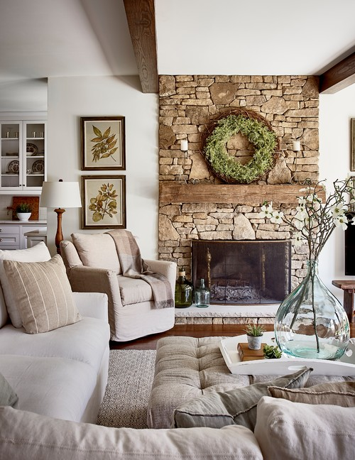 Neutral Living Room in Fresh and Airy North Carolina Home