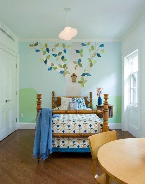 Children's Bedroom with Tree Mural