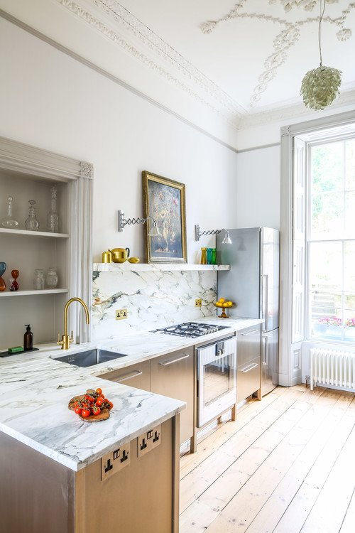 Steel and Marble Kitchen with Old World Charm