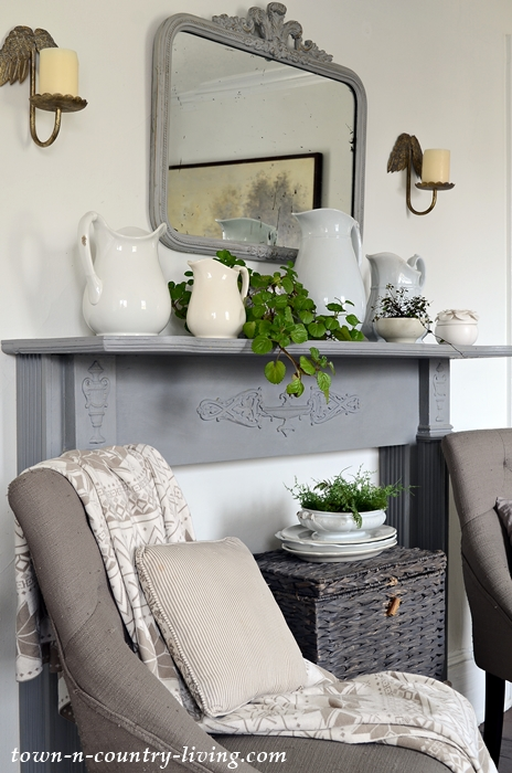Transitional Mantel with Houseplants and White Ironstone