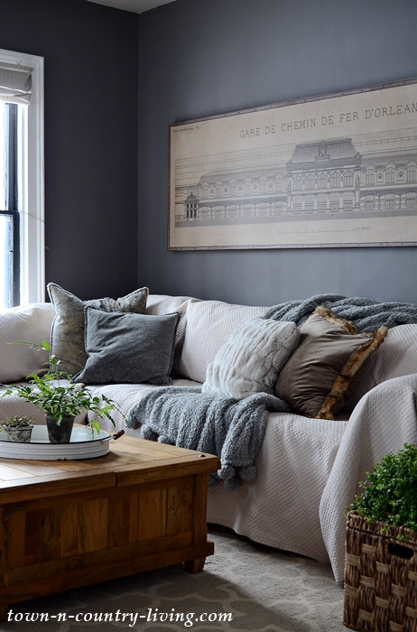 Dark Gray Living Room with Architectural Canvas Print