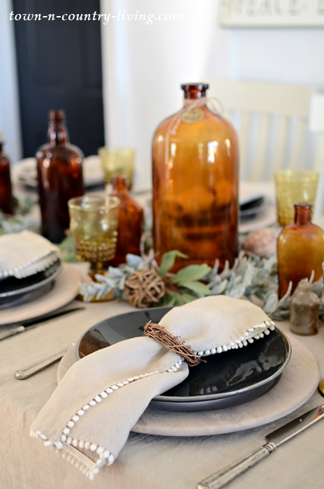 Linen Table Cloth and Napkins Create an Earthy Table Setting
