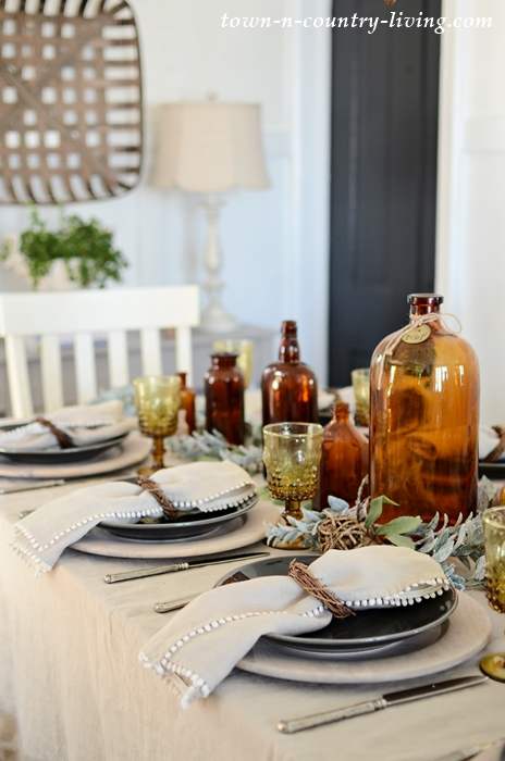 Create an Earthy Table Setting with Vintage Bottles and Organic Linens