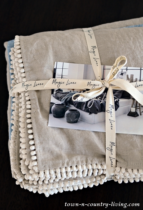 Natural Linen Pom Pom Tablecloth and Napkins from Magic Linen