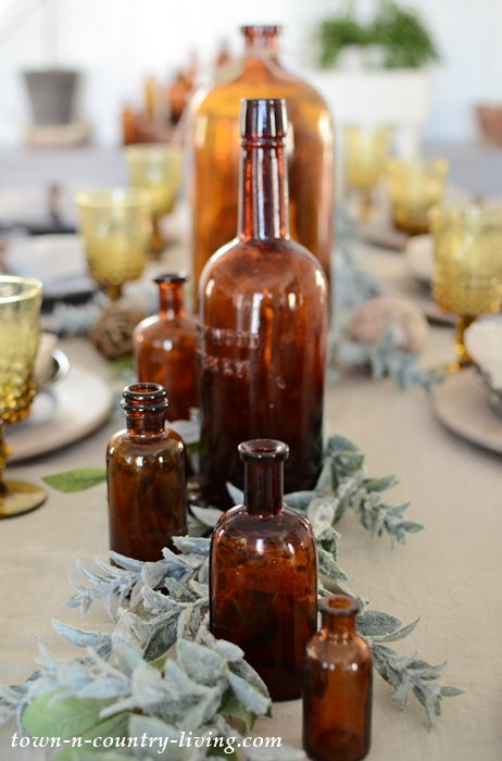 Vintage Brown Bottle Centerpiece for Earthy Table Setting