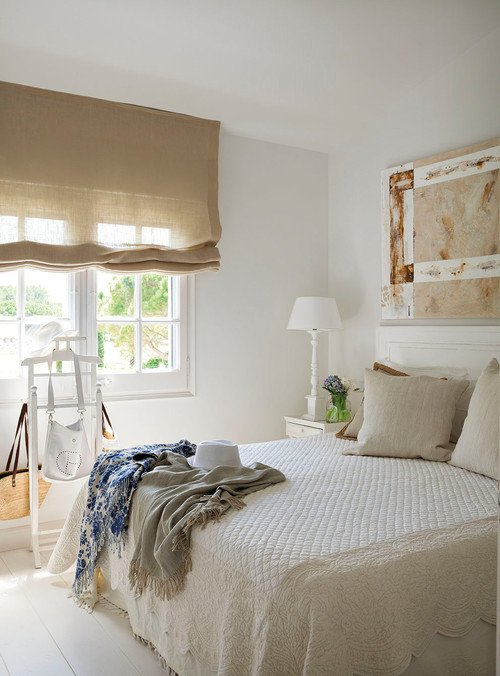 Linen Roman Shade in Neutral Bedroom