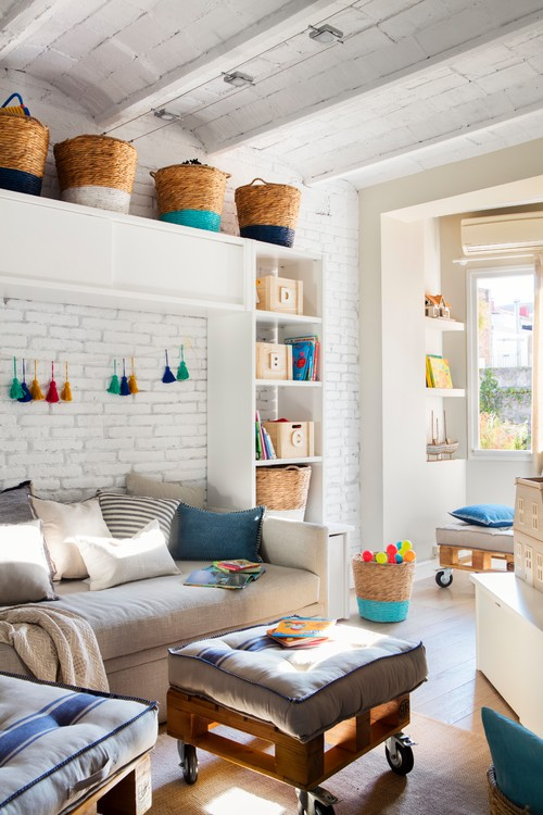 Spanish City House Living Room with Painted Brick Walls