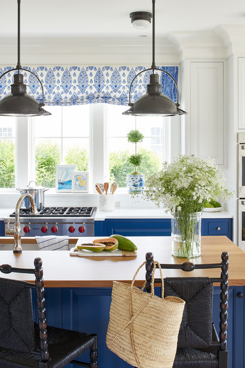 Pendant Lighting in Cottage Kitchen with Blue Cabinets