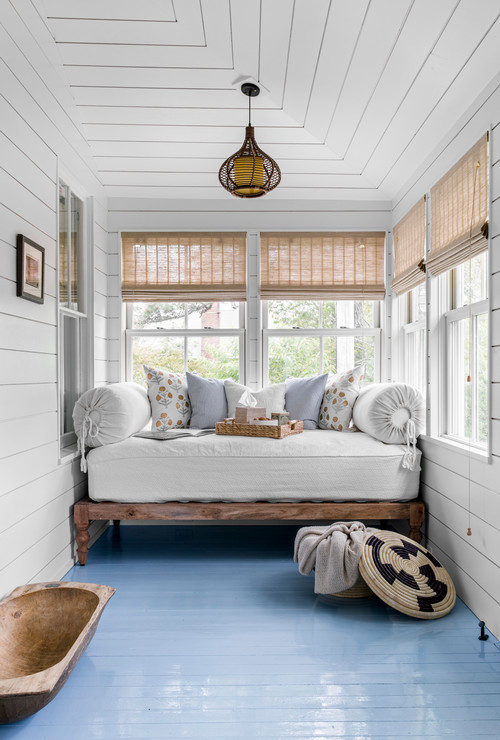 Blue Painted Floors in Sunroom Porch