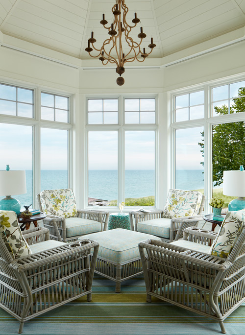 Coastal Style Sun Room with Waterfront View