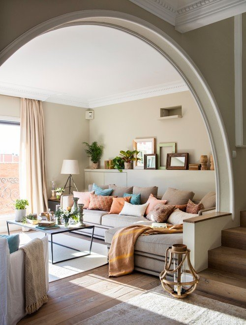 Spanish House Living Room with Arch Entryway