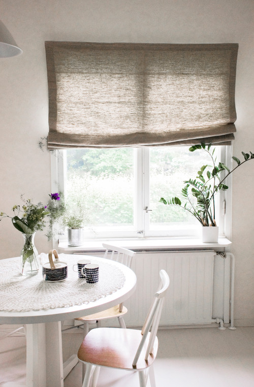 Gray Linen Shade in Breakfast Nook - Linen Decorations