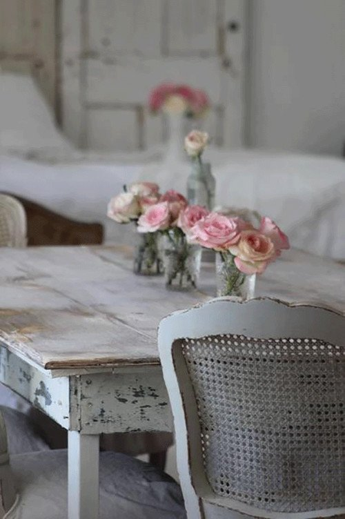 Shabby Chic Dining Room with Floral Centerpiece