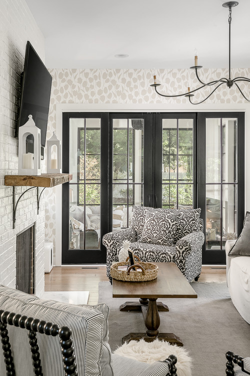 Farmhouse Style Family Room in Black and White