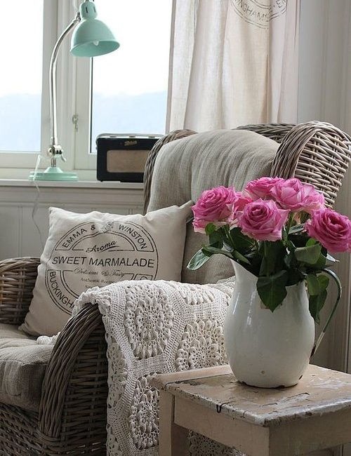 Farmhouse Style Roses in a White Enamel Pitcher