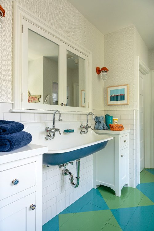 Bathroom with Colorful Checkerboard Floor