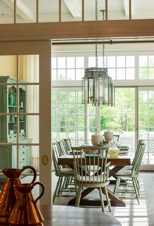 Farmhouse Dining Room with a View of the Garden