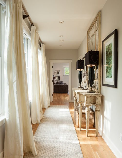 Linen Drapes in Farmhouse Hallway