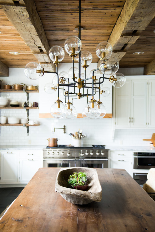 Contemporary Light Fixture in Farmhouse Kitchen