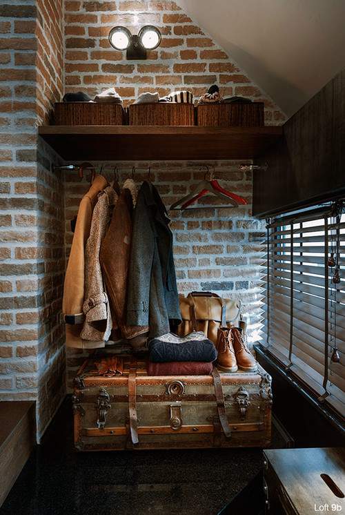 Entryway with Steamer Trunk for Shoe Storage