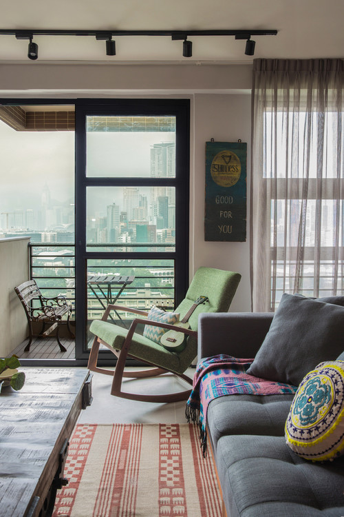 Industrial Style Living Room with City View