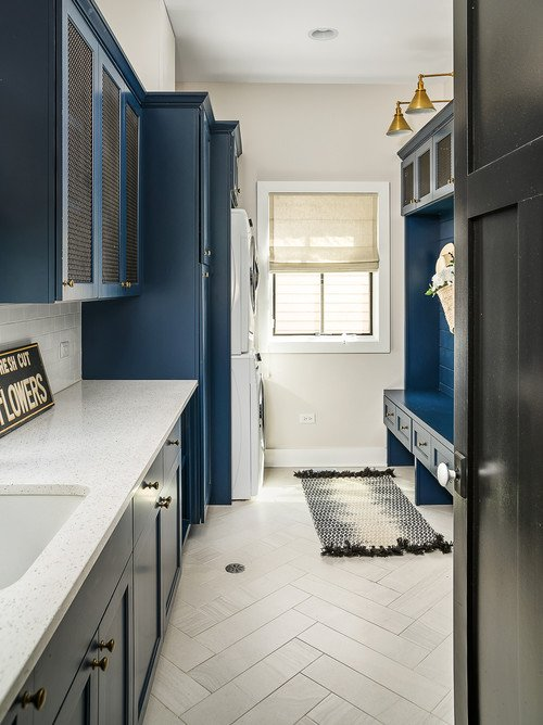 Large Laundry Room with Navy Blue Cabinetry