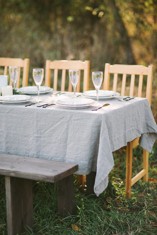 Outdoor Dining with Natural Linen Tablecloth