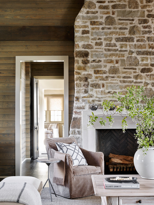 Stone Fireplace in a Neutral Family Room