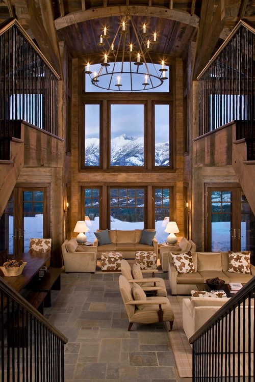 Rustic Living Room with a View of the Mountains