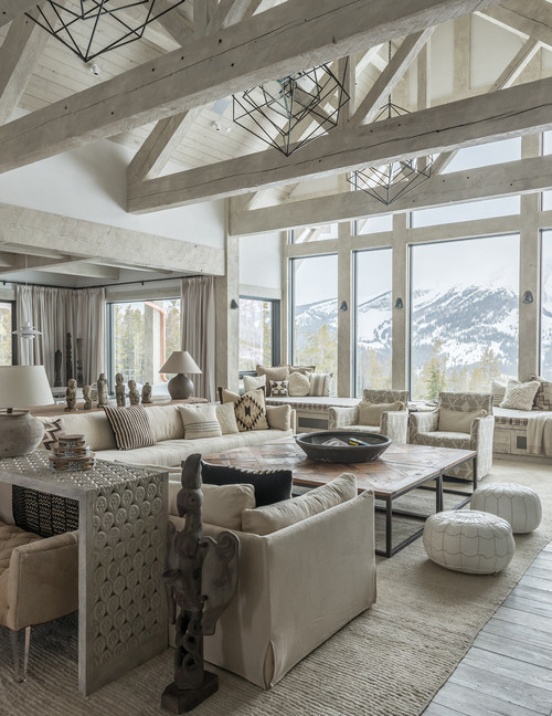 Neutral Living Room with a Mountain View