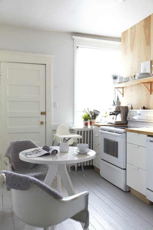 Quaint Scandinavian Kitchen with White Floor