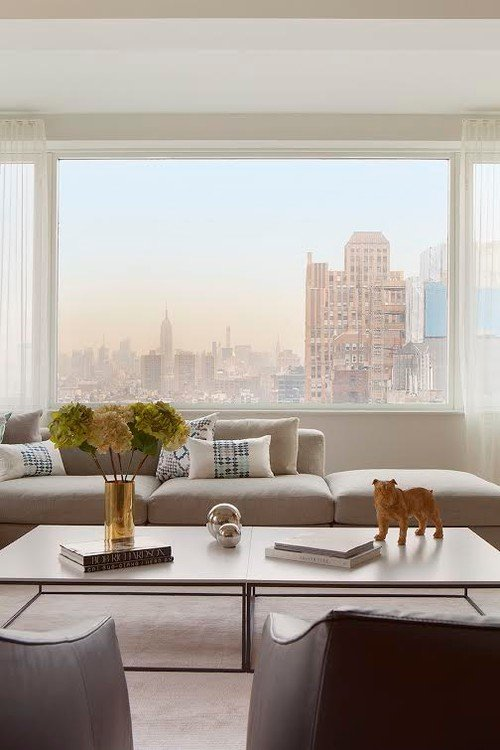 Scandinavian Style Living Room with City View