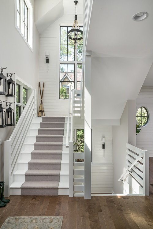 Modern Farmhouse Staircase with Runner