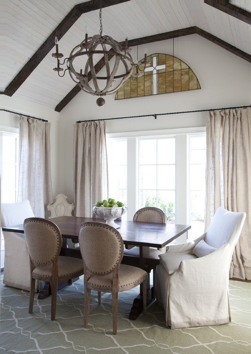 Neutral Dining Room with Linen Chairs