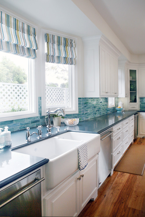 White Farmhouse Sink in Blue and White Kitchen
