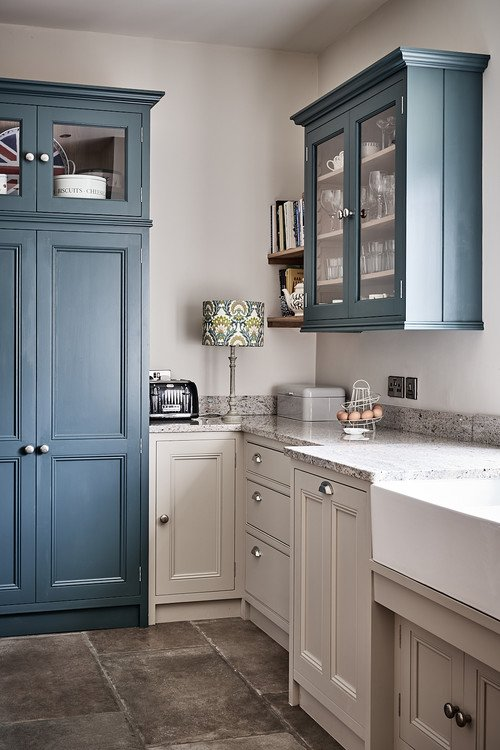 Blue and Gray Country Kitchen
