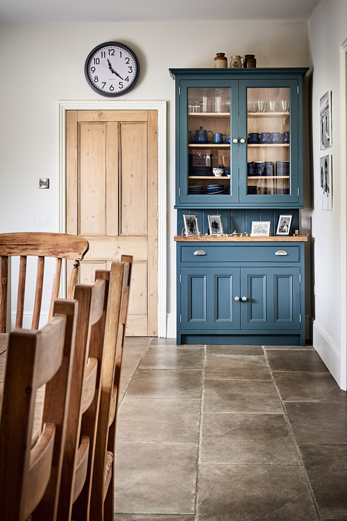 Rustic Farmhouse Kitchen with Blue Painted Cabinets