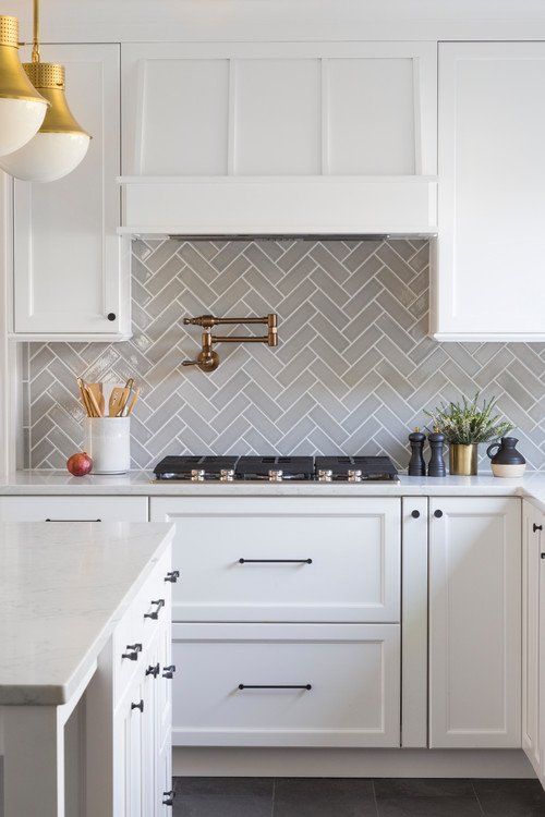 Ceramic Tile Kitchen Back Splash in Herringbone Pattern