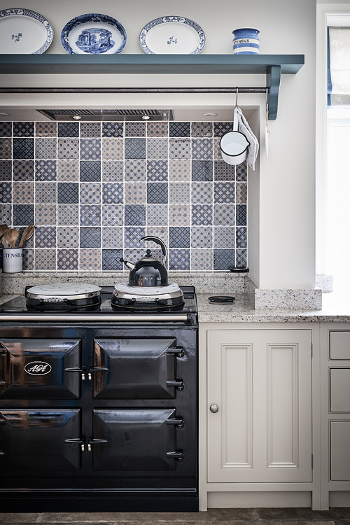 Blue and White Tiles in Blue Farmhouse Kitchen
