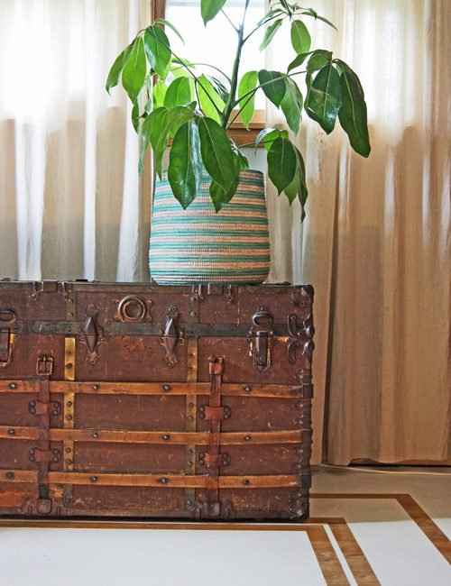 Vintage Steamer Trunk in Entryway