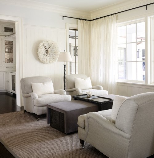 Farmhouse Family Room with Linen Chairs and Sofa