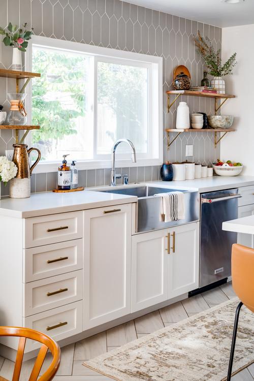 Quartz Counter Top in Transitional Kitchen