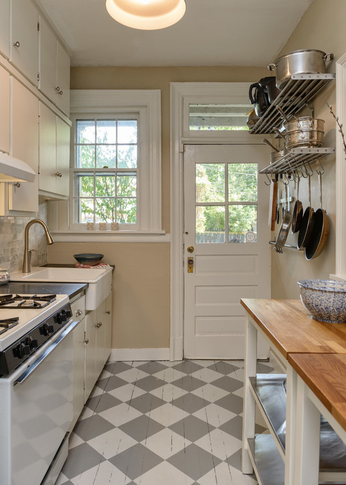 Country Kitchen with Checkerboard Floor