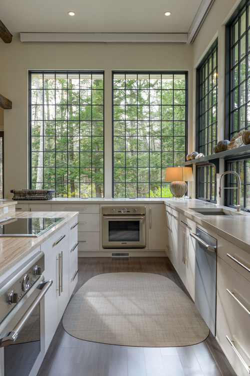 Transitional Kitchen with a Garden View