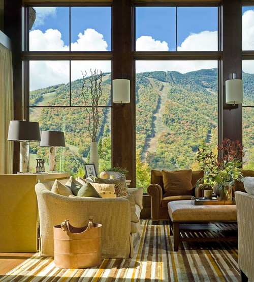 Vermont Living Room with Mountain View