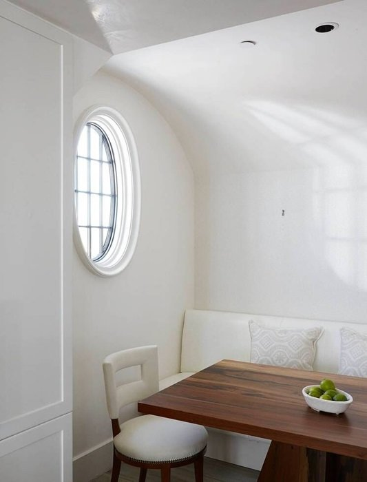 Minimalist Dining Room in White and Wood