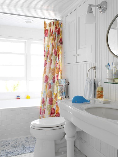 Bathroom Ideas - Update with a Colorful Shower Curtain