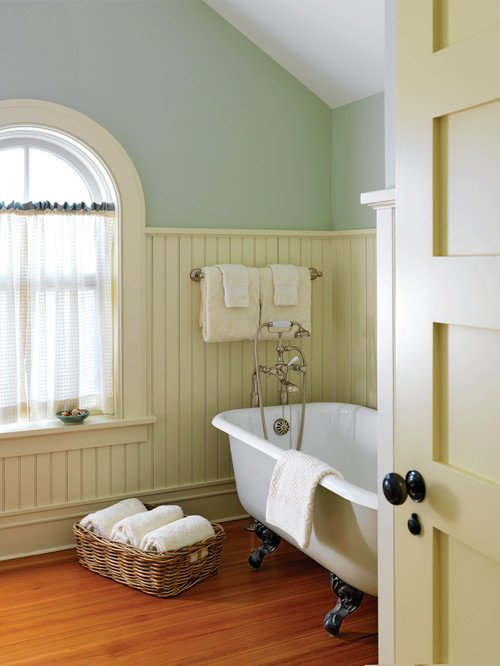 Vintage Bathroom with Bead Board Half Walls