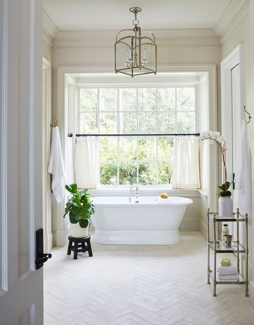Traditional White Bathroom with Free Standing Tub