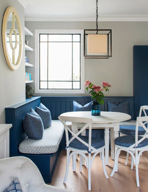 Country Blue Banquette Breakfast Nook